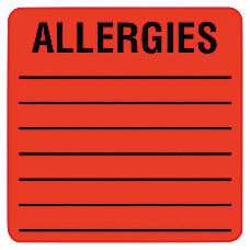 Tabbies Allergy Labels 2 x 2