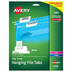 Avery® Top-View Hanging File Tabs, 1/5 Cut, White, Pack Of 72