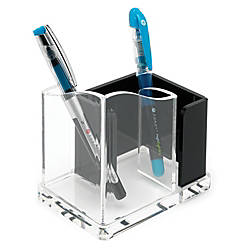 Realspace® Acrylic Double Pen Holder, Black/Clear
