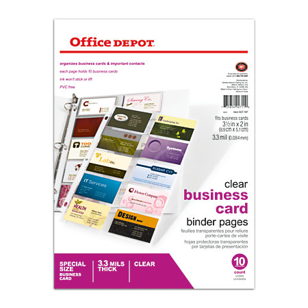 Office depot brand business card binder pages 8 12 x 11 for Business cards at office depot