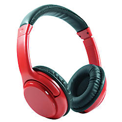 craig bluetooth wireless over the ear headphones with earbuds red by office depot officemax. Black Bedroom Furniture Sets. Home Design Ideas