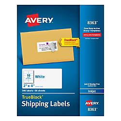 Avery TrueBlock White Inkjet Shipping Labels
