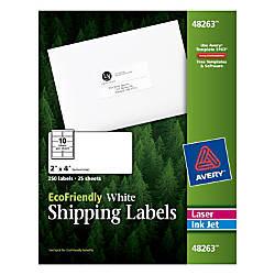 Avery EcoFriendly White InkjetLaser Shipping Labels