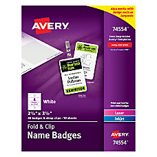 Avery Fold And Clip Name Badges
