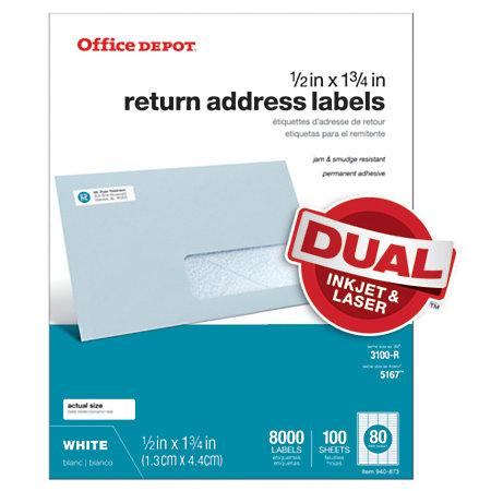 Office depot brand white inkjetlaser return address labels for Office depot address label template