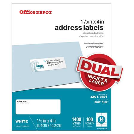 Office depot brand white inkjetlaser address labels 1 13 x for Depot adresse