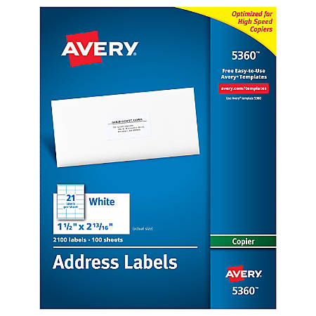 Avery white copier address labels 1 12 x 2 1316 box of for Office depot address label template