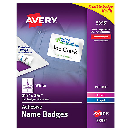 Avery Flexible Name Badge Labels 2 13 X 3 38 White Box Of