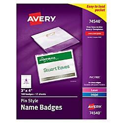 Avery Pin Style Name Badge Kits