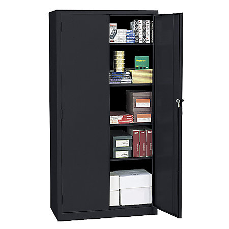 Realspace 72 Steel Storage Cabinet With 4 Adjustable Shelves 72 H X 36 W X 18 D Black By Office