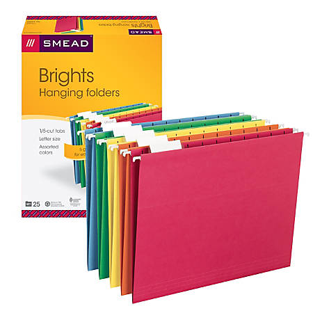 Smead Hanging File Folders 15 Cut Tab Letter Size Assorted