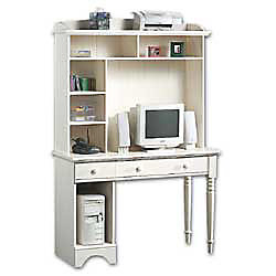 Sauder computer desk with hutch 71 h x 47 18 w x 19 12 d antiqued white by office depot officemax - Sauder computer desk assembly instructions ...