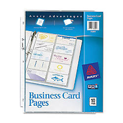 Avery Untabbed Business Card Pages 200 Card Capacity 8 12