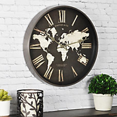 FirsTime World Map Round Wall Clock