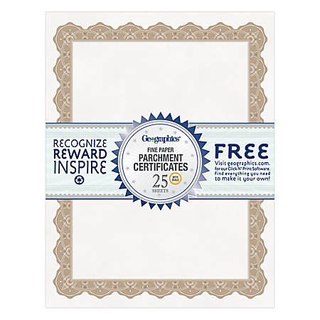 honorable mention certificate template - geographics 30percent recycled blank parchment