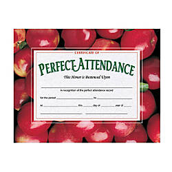 Hayes Publishing Perfect Attendance Certificates Apples 8