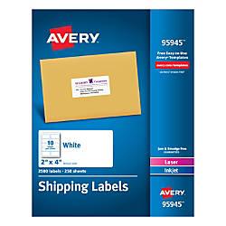 Avery Bulk Shipping Labels 2 x