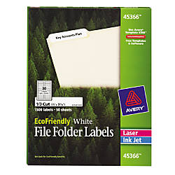 Avery EcoFriendly InkjetLaser File Folder Labels