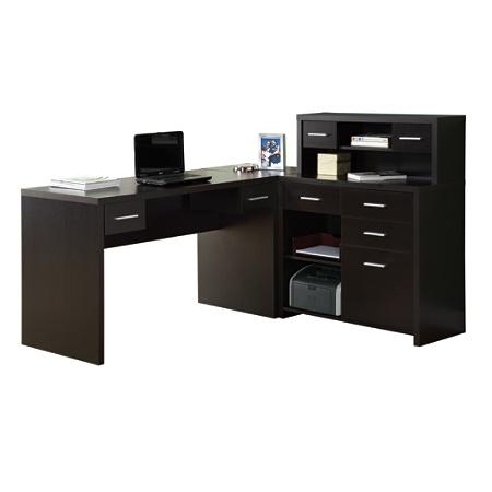 Monarch Specialties L Shaped Computer Desk 44 x 63 x 59 Cappuccino