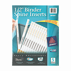 Avery binder spine inserts for 12 binders white pack of 80 for Half inch binder spine template