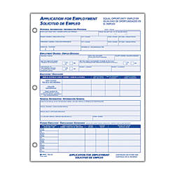 Adams® Application For Employment, Bilingual (Spanish/English), 8 1/2 ...