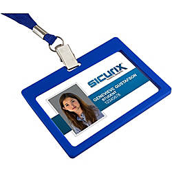 Badge Holder Horizontalizontal BLUE Rigid 6