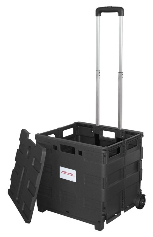Office Depot Brand Mobile Folding Cart With Lid 16 H x 18 W x 15 D Black by Office
