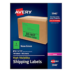 Avery Permanent Neon Shipping Labels 8