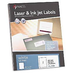 MACO White LaserInk Jet Full Sheet