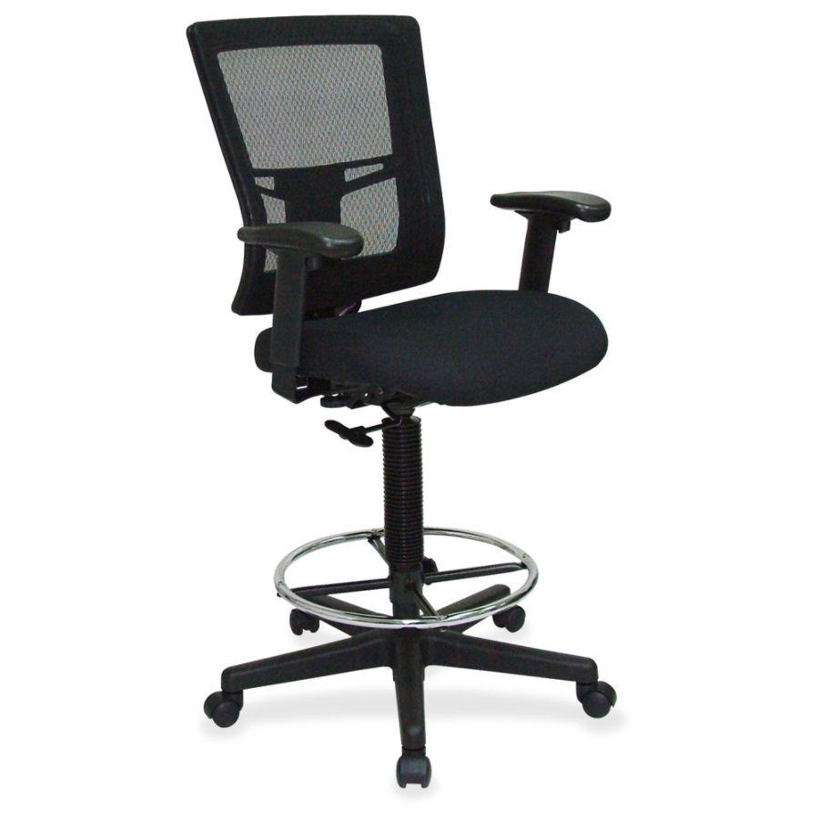 Lorell Breathable Mesh Drafting Stool Black Seat Black Back 5 star