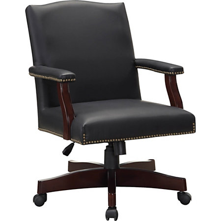Lorell Traditional Executive Bonded Leather Chair Bonded Leather Black Seat B