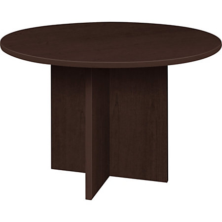 Lorell prominence 79000 series espresso round conference for Serie a table 99 00
