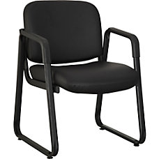 Lorell Black Leather Guest Chair Leather