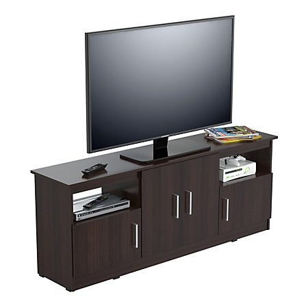 inval flat screen tv stand for 60 tvs 63 w espresso wengue by office depot officemax. Black Bedroom Furniture Sets. Home Design Ideas