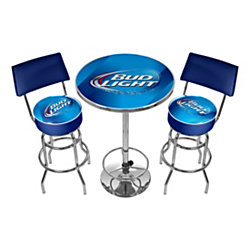 ultimate game room bud light pub table with 2 bar stools blue chrome. Black Bedroom Furniture Sets. Home Design Ideas