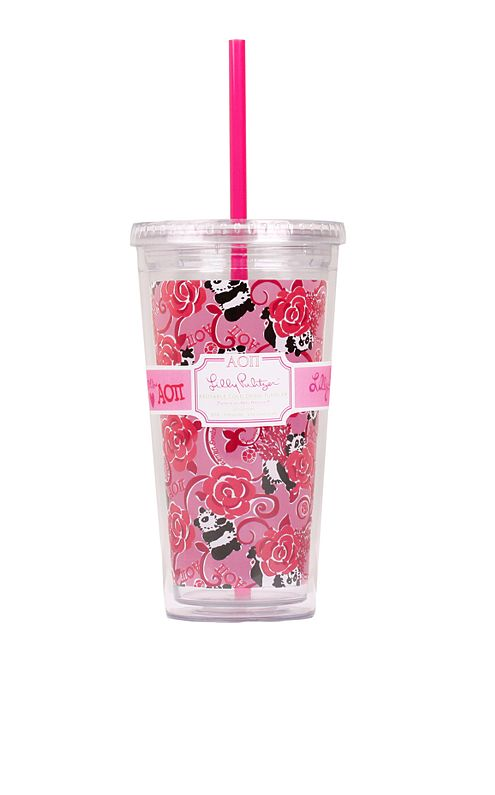 Tumbler With Straw- Alpha Omicron Pi