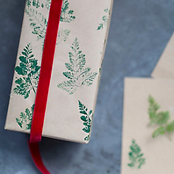 How-To: Nature Stamped Gift Wrap