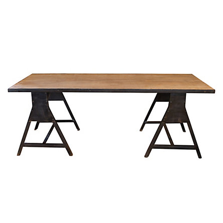 Iron & Wood Sawhorse Table