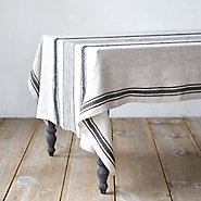 Charcoal Striped Tablecloth