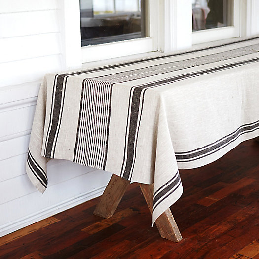 Beautiful Linen Striped Tablecloth