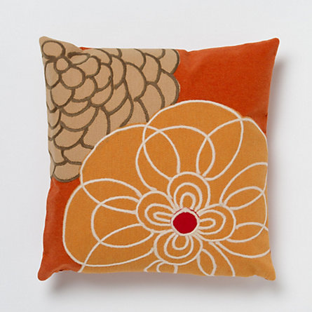 Two Flowers Pillow, Orange