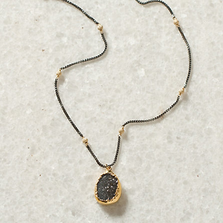 Oxidized Stone Necklace