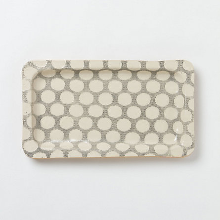 Stretched Dot Stoneware Tray
