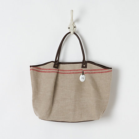 Red Striped Linen Carryall