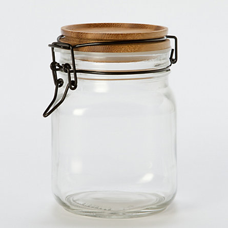 Acacia Wood Mason Jar, Large