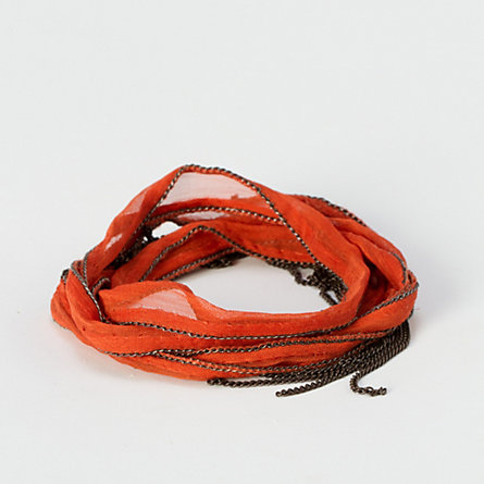 Fringed Silk Wrap Bracelet, Orange