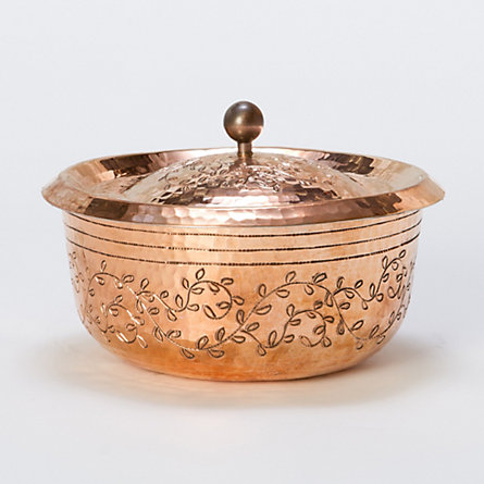 Engraved Vines Copper Cocotte