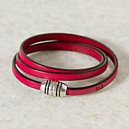 Wrapped Leather Bracelet, Fuschia