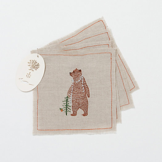 Festive Bear Cocktail Napkins