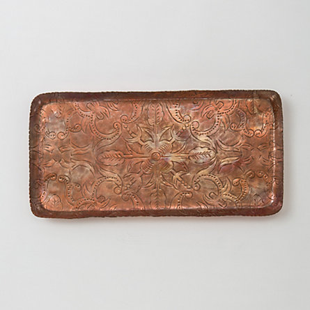 Inscribed Copper Tray, Medium